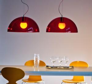 Luminaires rouges ou oranges : Suspension Bubbles, rouge, Martinelli Luce